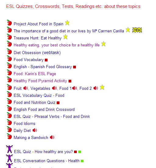 Healthy Food & Life : ESL Quizzes, Crosswords, Tests, Readings etc. about these topics  SOURCE: isabelperez.com