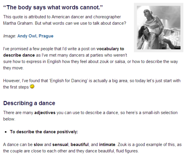Vocabulary to describe dance  (SOURCE: getintoenglish.com)