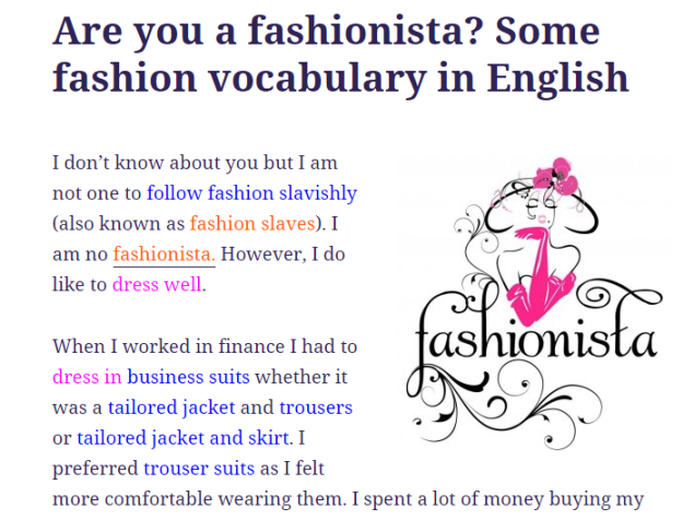 Are you a fashionista? Some fashion vocabulary in English (SOURCE: englishwithatwist.com)