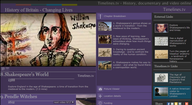 Timelines.tv - History, documentary and television on the web Explore England in the age of Shakespeare: a time of transition from the medieval to the modern (videos with transcript)