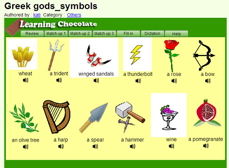 Greek gods -symbols (AUDIO VOCABULARY- ONLINE) 1CLICK HERE (SOURCE: learningchocolate.com)