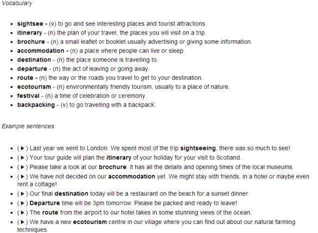 Tourism Vocabulary-LISTEN & READ (SOURCE: funkyenglish.com)
