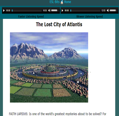 The Lost City of Atlantis AUDIO TEXT WITH TRANSCRIPT (SOURCE: esl-bits.net)