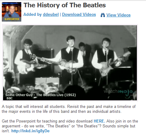 The History of The Beatles  by ddeubel (SOURCE: community.eflclassroom.com
