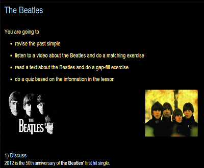 LESSON PLAN ON THE BEATLES STORY  VIDEO WITH ACTIVITIES (SOURCE: efllecturer.blogspot.com)