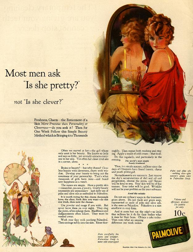 "Most men ask ""Is she pretty?"" not ""Is she clever?"" CLICK TO ENLARGE (SOURCE: library.duke.edu)"