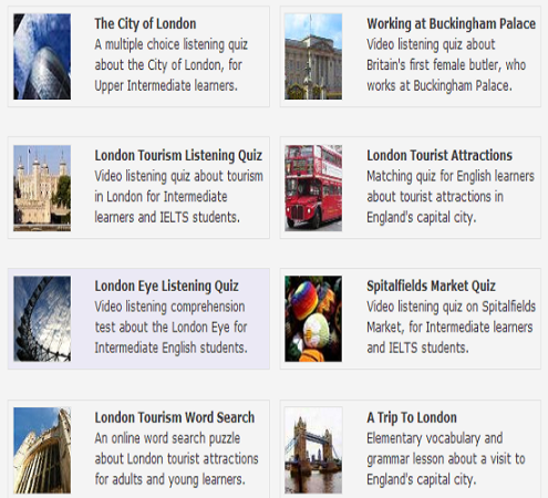 LONDON-ONLINE ACTIVITIES & WORKSHEETS (SOURCE: esolcourses.com)
