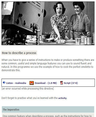 How to describe a process: Activity- podcast-scriptTO VIEW    CLICK HERE (SOURCE: bbc.co.uk)