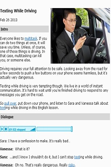 Texting While Driving- CLICK TO VIEW ONLINE LISTENING ACTIVITY (SOURCE: myenglishpages.com)
