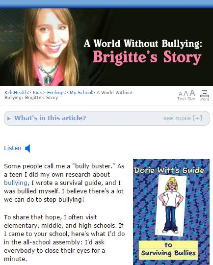 A World Without Bullying: Brigitte's Story (Audio Text)