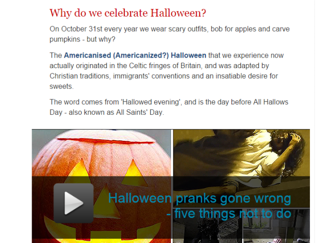 Why do we celebrate Halloween? (SOURCE: telegraph.co.uk)