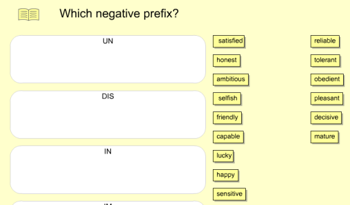 Which negative prefix?  Interactive (SOURCE: expandyourvocabulary.com)
