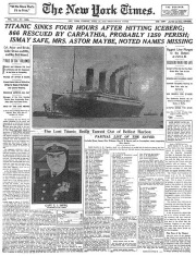 RMS TITANIC SINKS, FRONT PAGE STORY FROM THE NEW YORK TIMES (SOURCE: zimbio.com)