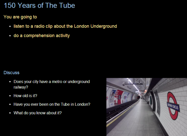 150 Years of The Tube -lesson plan (SOURCE:efllecturer.blogspot.fr)