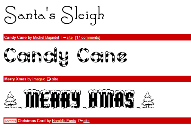 Christmas Fonts (SOURCE: dafont.com)