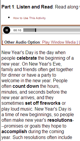 New Year's Day- AUDIO TEXT (SOURCE: dailyesl.com)