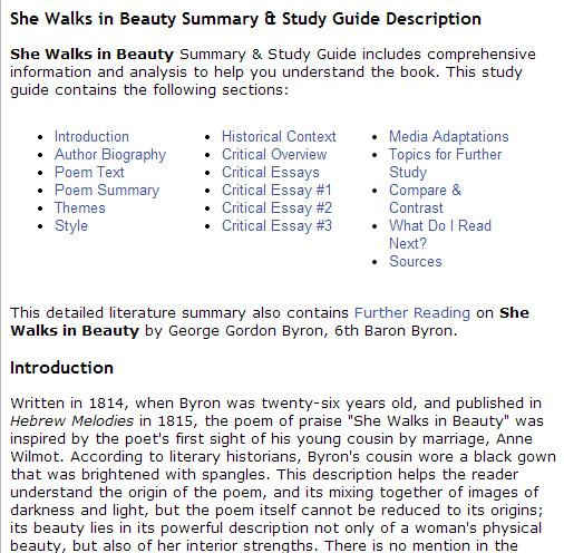 She Walks in Beauty Summary & Study Guide Description (SOURCE: bookrags.com)