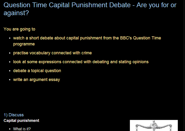 LESSON PLAN: Question Time Capital Punishment Debate - Are you for or against? (SOURCE: efllecturer.blogspot.hk)