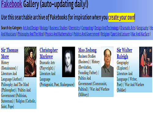 Gallery of Fakebook profiles (SOURCE: classtools.net)