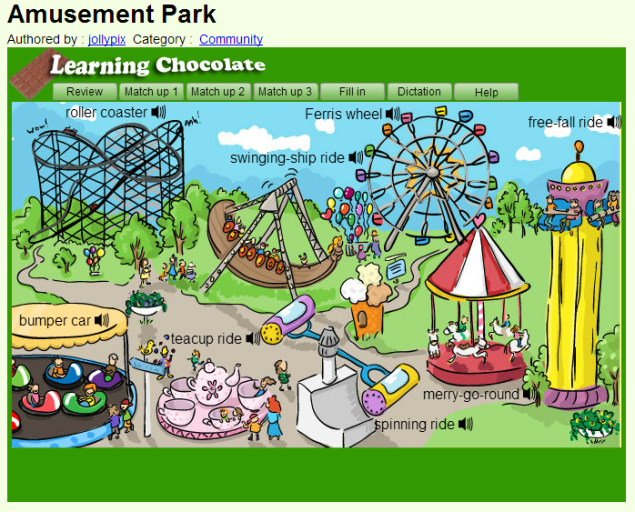 Amusement Park- interactive (SOURCE: learningchocolate.com)