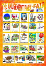 AMUSEMENT PARK/FAIR PICTIONARY-WORKSHEET by mariamit (SOURCE: eslprintables.com)