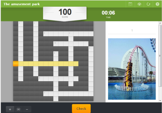 The amusement park-interactive (SOURCE: en.educaplay.com)