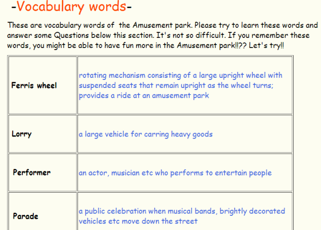 AMUSEMENT PARKS-VOCABULARY -READING LISTENING (SOURCE: freewebs.com)