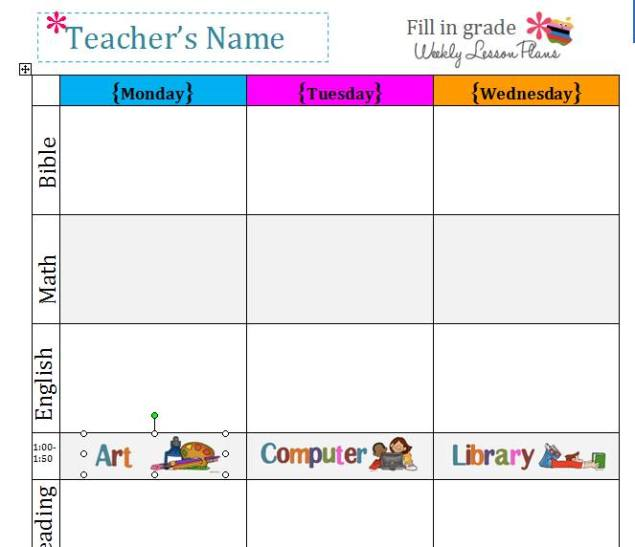 Lesson Plan Template Blank -CLICK TO DOWNLOAD