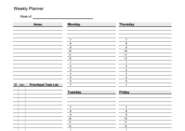 Weekly Planner- click to download (SOURCE: vertex42.com)