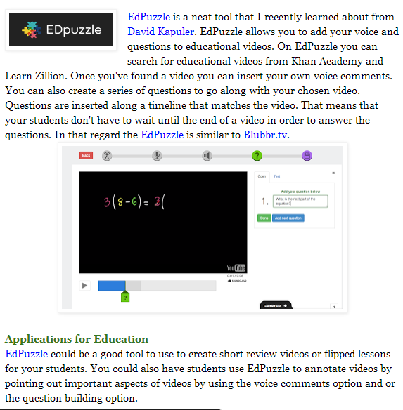 EDPuzzle - Add Your Voice and Text Questions to Educational Videos (SOURCE: freetech4teachers.com)