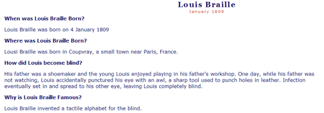 Facts about Louis Braille