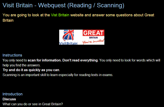 Visit Britain - Webquest (Reading / Scanning) SOURCE: efllecturer.blogspot.gr)