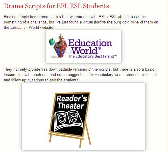 Drama Scripts for EFL ESL Students by Nik Peachey (SOURCE: quickshout.blogspot.gr)
