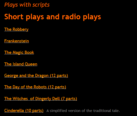 Plays with scripts- Short plays and radio plays (SOURCE: efltheatreclub.co.uk)