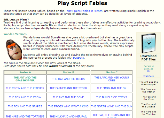 Play Script Fables (SOURCE:play-script-and-song.com)