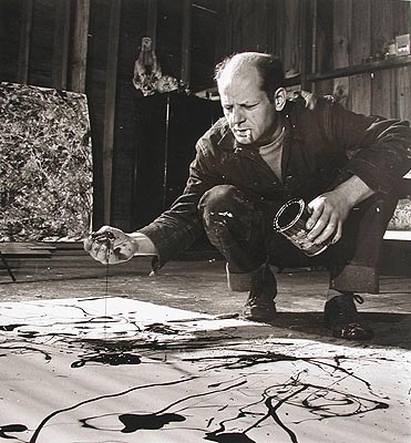 """On the floor I am more at ease. I feel nearer, more a part of the painting, since this way I can walk around it, work from the four sides and literally be in the painting."" - Jackson Pollock (1912-1956), on drip painting. (SOURCE: findagrave.com)"