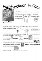 Jackson Pollock- Worksheet by amypiccy (SOURCE: eslprintables.com)