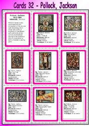 Cards 32 - Pollock, Jackson - (Abstract Expressionism) by  venezababi SOURCE: eslprintables.com)
