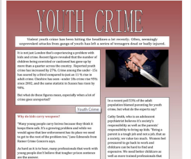 Youth Crime- Worksheet by Mulle (SOURCE: en.islcollective.com)