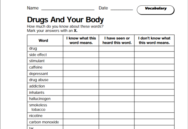 Drugs and your body (SOURCE: teachervision.fen.com)